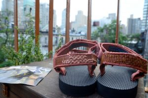 tevas on balcony in the city